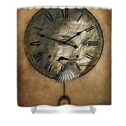 Around The Clock-time Is Flying Shower Curtain