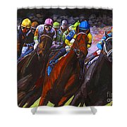 Around The Turn They Come Shower Curtain