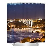 Arrabida Bridge At Night In Porto And Gaia Shower Curtain