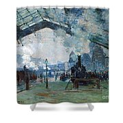 Arrival Of The Normandy Train Gare Saint-lazare Shower Curtain