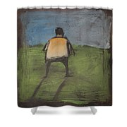 art critic relieves himself on Rothko's field Shower Curtain