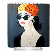 Art Deco  Hippy Girl Shower Curtain