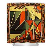 Art Deco In Orange Shower Curtain