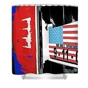 Art Homage Jasper Johns American Flag 9-11-01 Memorial Collage Barber Shop Eloy Az 2004-2012 Shower Curtain