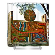 Art In A Cusco Park-peru  Shower Curtain