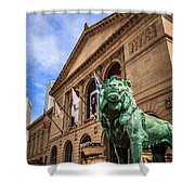 Art Institute Of Chicago Lion Statue Shower Curtain by Paul Velgos