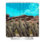 Art No 1901 American Landscape Cactus Stone Mountains And Skyview By Navinjoshi Artist Toronto Canad Shower Curtain