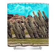 Art No.1900 American Landscape Cactus Stone Mountains And Skyview By Navinjoshi Artist Toronto Canad Shower Curtain