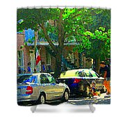 Art Of Montreal Day With Daddy And Yellow Wagon Zooming Our Streets Of Verdun Scene Carole Spandau  Shower Curtain