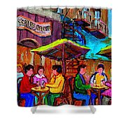 Art Of Montreal Enjoying A Pint At Ye Olde Orchard Irish Pub And Grill Monkland Village Cafe Scenes Shower Curtain