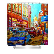 Art Of Montreal Summer Street Scenes Of Quebec With Caleche Near Cafes On Cobblestones Old Montreal Shower Curtain