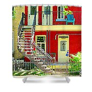 Art Of Montreal Upstairs Porch With Summer Chair Red Triplex In Verdun City Scene C Spandau Shower Curtain