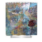 Art Table With Dried Paint Shower Curtain