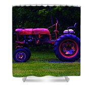 Artful Tractor In Purples Shower Curtain