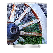Artful Wagon Wheel Shower Curtain