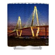 Arthur Ravenel Bridge At Evening  Shower Curtain