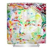 Arthur Rimbaud Watercolor Portrait Shower Curtain