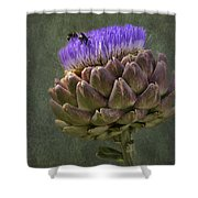 Artichoke Bloom And Bee Dip Shower Curtain