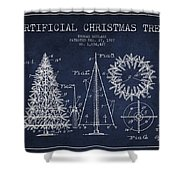 Artifical Christmas Tree Patent From 1927 - Navy Blue Shower Curtain