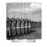 Artisan Lakes Bridge 1bw Shower Curtain