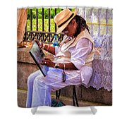 Artist At Work - Painting  Shower Curtain