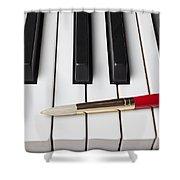 Artist Brush On Piano Keys Shower Curtain