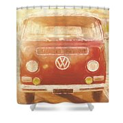 Artistic Digital Drawing Of A Vw Combie Campervan Shower Curtain