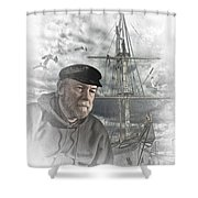 Artistic Digital Image Of An Old Sea Captain Shower Curtain