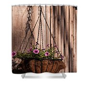 Artistic Hanging Basket Of Petunias Shower Curtain
