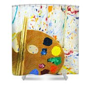 Artists Easel And Splatter Shower Curtain