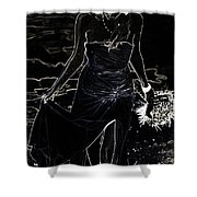 As Aphrodite Coming From Sea Foam. Black Art Shower Curtain by Jenny Rainbow