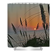 as the sun sets at Seascape Shower Curtain