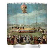 Ascent Of A Balloon In The Presence Of The Court Of Charles Iv Shower Curtain