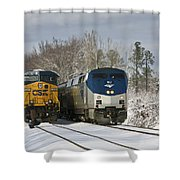 Ashland Trains In The Snow Shower Curtain