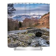 Ashness Bridge And Snow Capped Skiddaw Shower Curtain