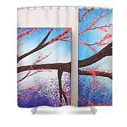 Asian Bloom Triptych 1 2 Shower Curtain