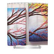 Asian Bloom Triptych 2 3 Shower Curtain