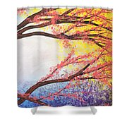 Asian Bloom Triptych 3 Shower Curtain