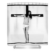 Asian Crucifix Highlight Shower Curtain