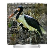 Asian Stork With Message Shower Curtain