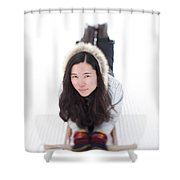 Asian Woman Posing For A Portrait Lying Shower Curtain
