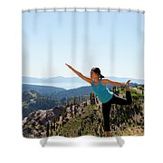 Asian Woman Practicing Yoga Outdoors Shower Curtain