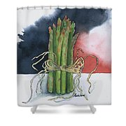 Asparagus In Raffia Shower Curtain