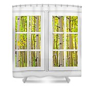 Aspen Forest White Picture Window Frame View Shower Curtain