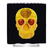 Aspen Leaf Skull 1 Black Shower Curtain