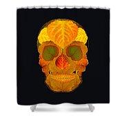 Aspen Leaf Skull 2 Black Shower Curtain
