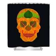 Aspen Leaf Skull 3 Black Shower Curtain