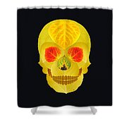 Aspen Leaf Skull 4 Black Shower Curtain