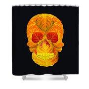Aspen Leaf Skull 6 Black Shower Curtain