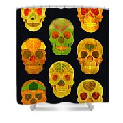 Aspen Leaf Skulls Poster 2014 Black Shower Curtain